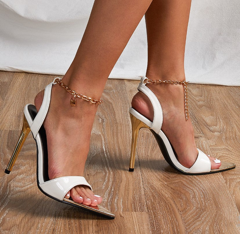 Metal chain pointed stiletto sandals