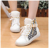 Street Lace Up Rivet Skull Leopard Print Sports Sneakers - MeetYoursFashion - 1