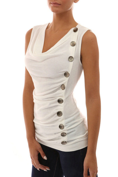 Buttons Ruffles Decorate Slim Tank Top