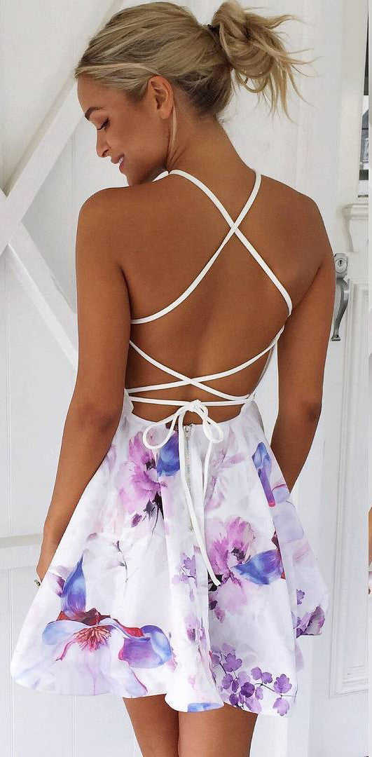 Strap Backless Print Sleeveless Short Dress