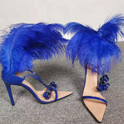 Blue Strappy Pointed Toe Cutout Fur Sandals