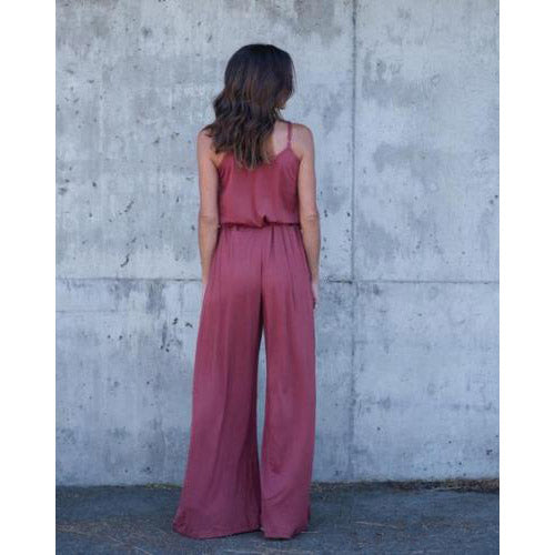 High Waist Loose Spaghetti Strap Pure Color Long Wide-leg Jumpsuits