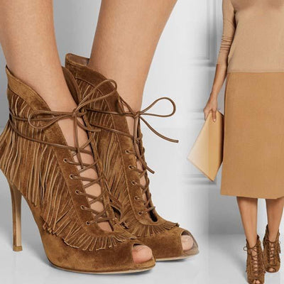 Brown Suede Peep Toe Fringe Sandals