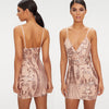 Spaghetti Strap Sequin Backless Bodycon V Neck Dress