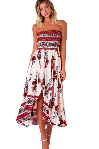 Off Shoulder Flower Print Irregular Tee-length Beach Dress
