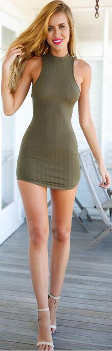 Sexy Hollow Out Back Sleeveless Short Bodycon Dress