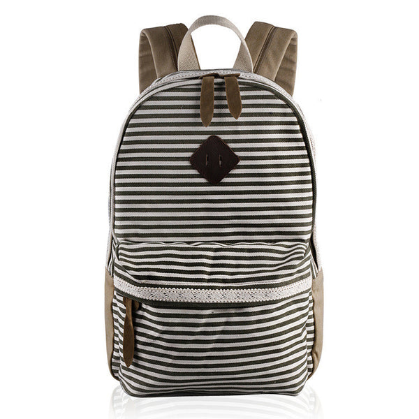 2016 Classical Stripe Lace Canvas Backpack - Meet Yours Fashion - 2
