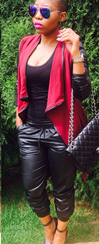 Splicing Faux Leather Asymmetric Coat - Meet Yours Fashion - 1