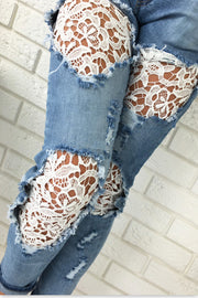 Lace Denim Patchwork Cut Out Long Skinny Jeans