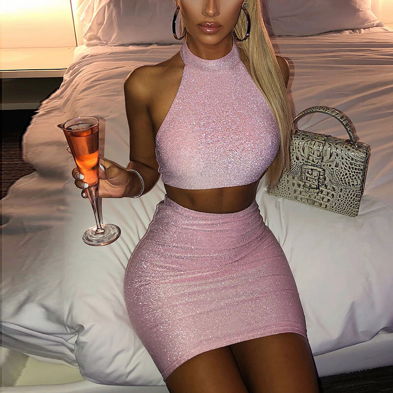Sleeveless Crop Top Short Skirt Set