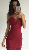 Flower Hollow Pure Color Backless Off Shoulder Short Dress - Meet Yours Fashion - 2