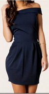 Slim Off Shoulder Zigzag Sleeveless Short Dress - Meet Yours Fashion - 1