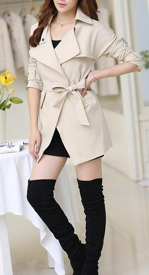 Belt High Neck Long Sleeves Irregular Slim Mid-length Coat - Meet Yours Fashion - 1