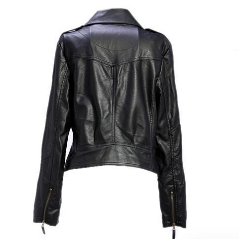 Women Black Zipper Moto Crop Slim Jacket - Meet Yours Fashion - 5