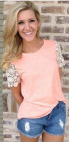 Lace Patchwork Scoop Short Sleeves Sexy T-shirt - Meet Yours Fashion - 2