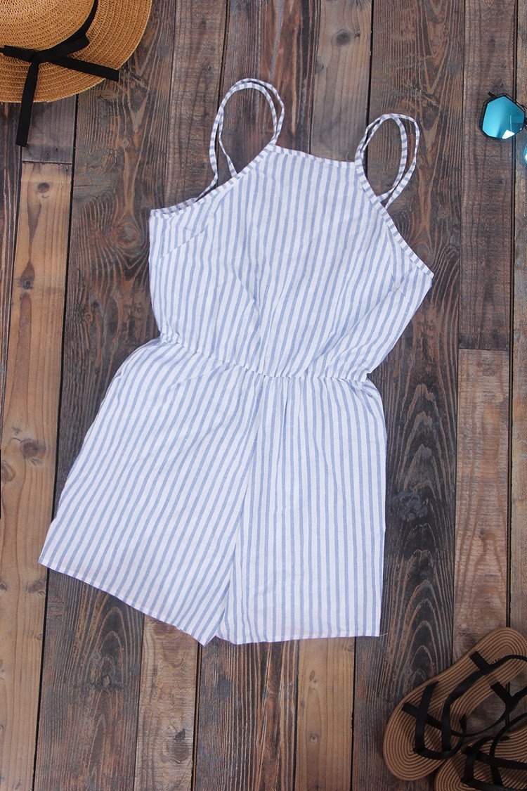 Spaghetti Strap Striped Sleeveless Backless Sexy Beach Jumpsuits - Meet Yours Fashion - 3