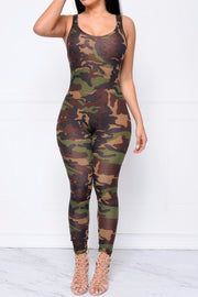 Camouflage Spaghetti Strap Backless Long Slim Jumpsuit