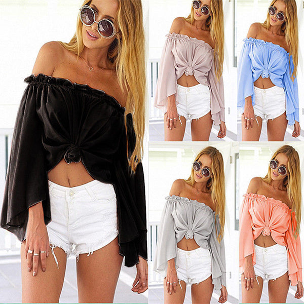 Off-shoulder Flare Sleeves Beach Cover Up Blouse - Meet Yours Fashion - 2