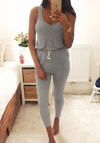 Drawstring Sleeveless Scoop Pure Color Slim Long Jumpsuit - Meet Yours Fashion - 4
