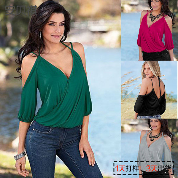 Spaghetti Strap 1/2 Sleeves Deep V-neck Pure Color Blouse