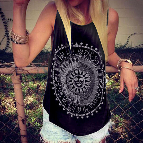 Fashion Sleeveless Scoop Flower Print Casual Vest