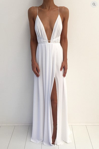 Spaghetti V-neck Backless Solid Color Long Dress - Meet Yours Fashion - 3