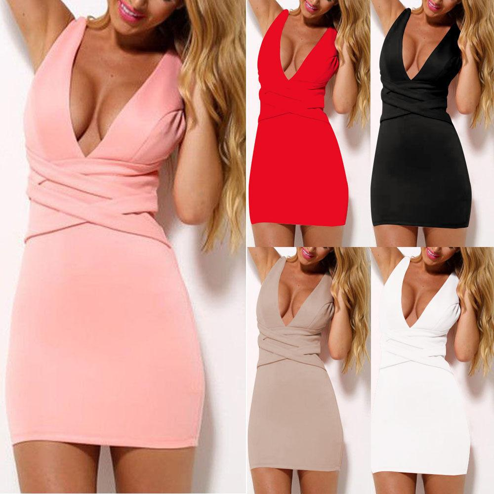Bodycon Deep V-neck Sleeveless Short Slim Cocktail Dress - Meet Yours Fashion - 1