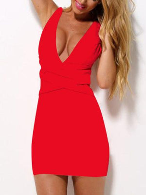 Bodycon Deep V-neck Sleeveless Short Slim Cocktail Dress - Meet Yours Fashion - 6