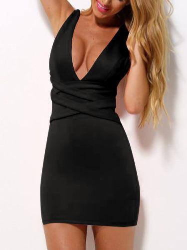 Bodycon Deep V-neck Sleeveless Short Slim Cocktail Dress - Meet Yours Fashion - 7
