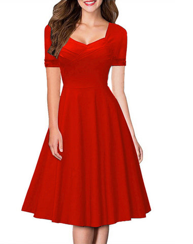 Hot Style Short Sleeve A-Line Pure Color Knee-Length Dress