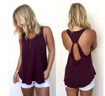 Scoop Sleeveless Backless Pure Color Backcross Blouse - Meet Yours Fashion - 2