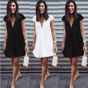 Sexy Pure Color V-neck Loose Plus Size Short Dress - Meet Yours Fashion - 3