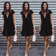 Sexy Pure Color V-neck Loose Plus Size Short Dress - Meet Yours Fashion - 5
