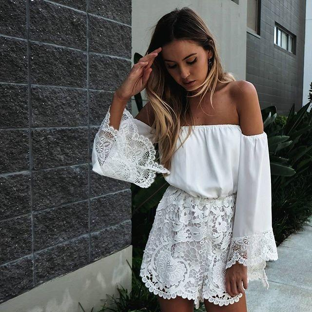 Sexy White Lace Off Shoulder Long Sleeve Jumpsuit - Meet Yours Fashion - 1