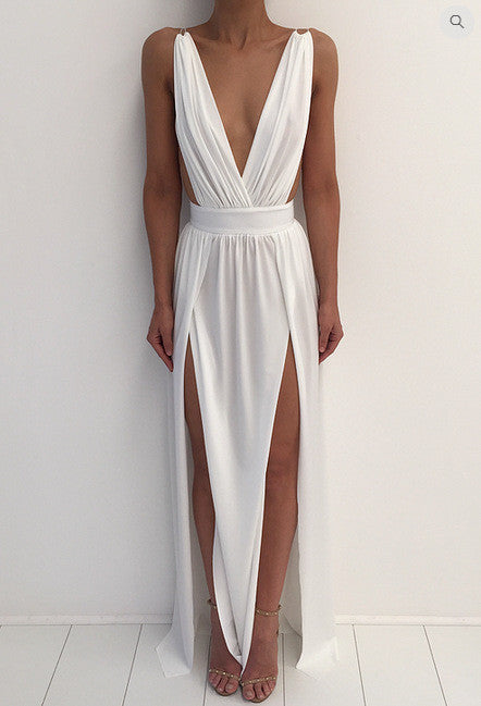 Deep V-neck Sleeveless Split Backless Sexy Long Dress
