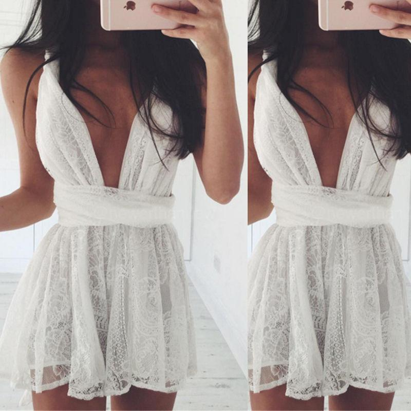 Backless Spaghetti Strap White Lace Back Cross V-neck Short Dress - Meet Yours Fashion - 1