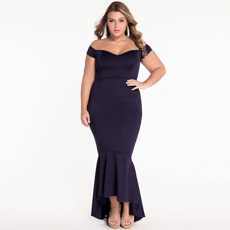 Off-Shoulder Deep V-neck Bodycon Mermaid Irregular Dress