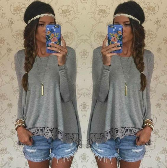 Lace Patchwork Long Sleeves Casual Loose Scoop T-shirt - Meet Yours Fashion - 3