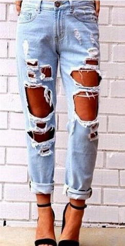 Big Holes Ripped Beggar BY Style Sexy Jeans - Meet Yours Fashion - 2