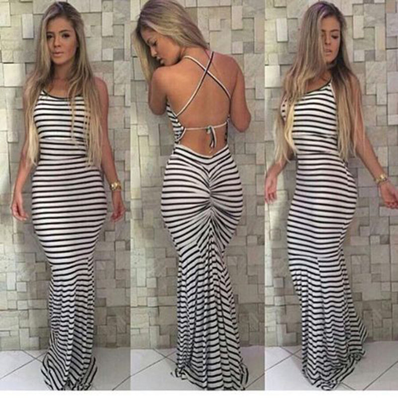 Sleeveless Backless Spaghetti Strap Stripe Long Dress - Meet Yours Fashion - 1