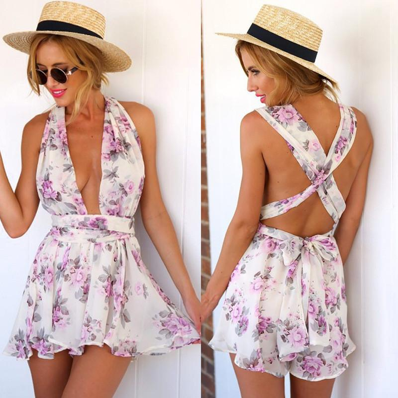 Deep V-neck Flower Print Empire Back Cross Short Jumpsuits - Meet Yours Fashion - 2