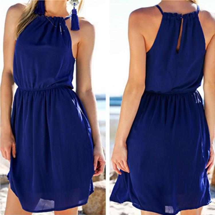 Pure Color O-neck Backless Sleeveless Short Dress - Meet Yours Fashion - 1