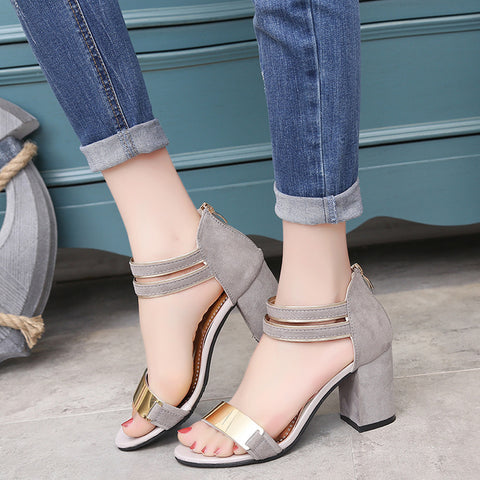 Ankle Wrap Middle Chunky Heel Open Toe Zipper High Heels Sandals