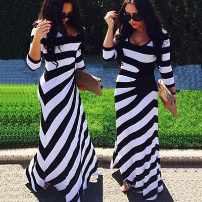 Striped 3/4 Sleeve Scoop Irregular long Dress - Meet Yours Fashion - 2