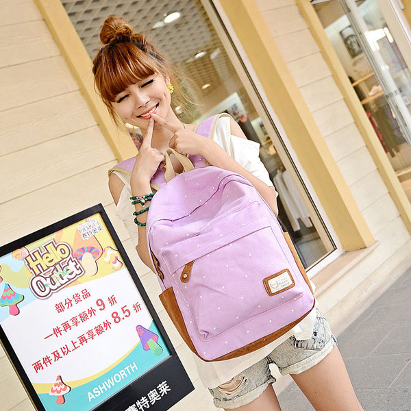 Polka Dot Candy Color Canvas Backpack School Bag - Meet Yours Fashion - 8