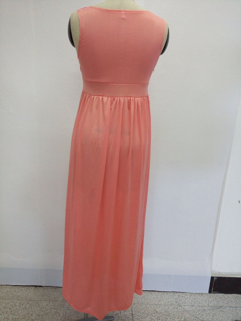 Pure Color Slim V-neck Sleeveless Long Party Dress