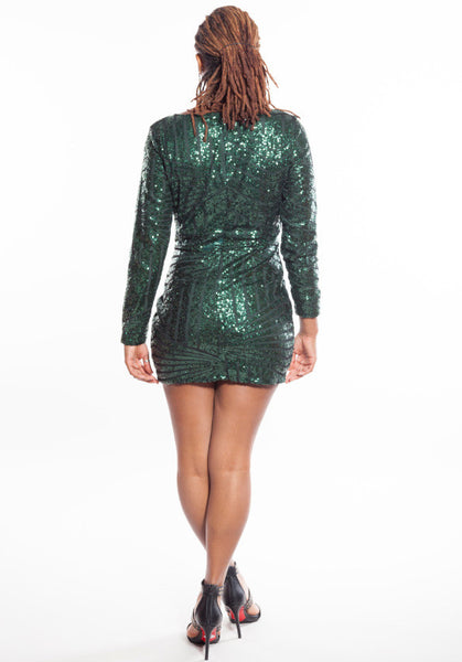 Deep V Neck Sequins Irregular Short Bodycon Dress