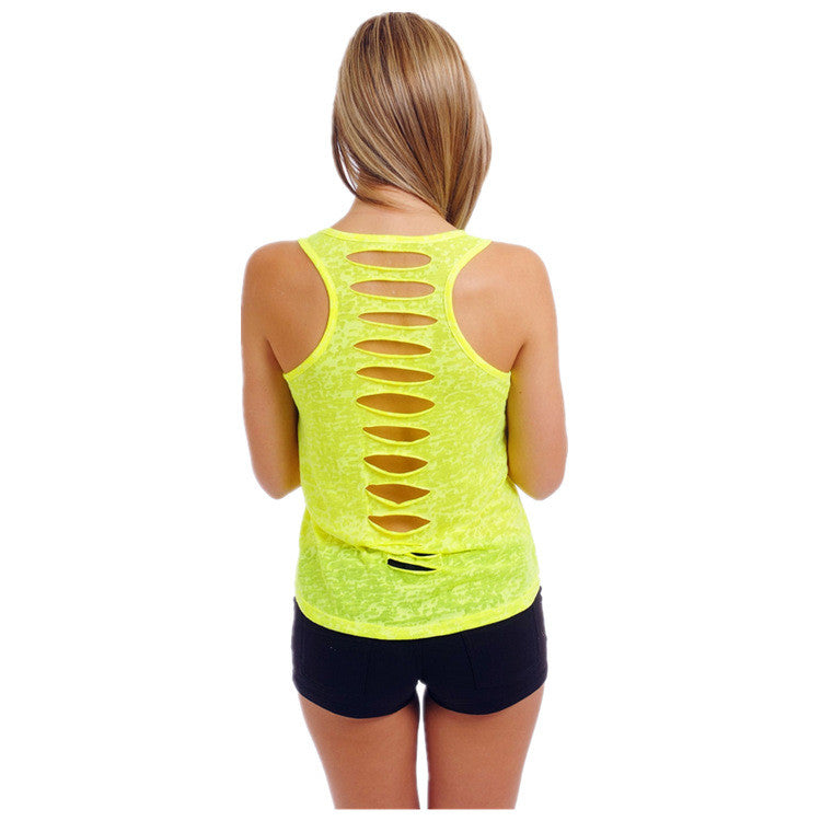 Hollow Out Sleeveless U-neck Pure Color Vest - Meet Yours Fashion - 7