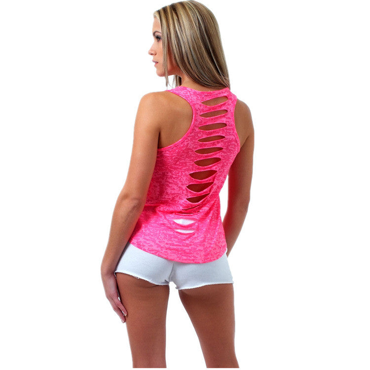 Hollow Out Sleeveless U-neck Pure Color Vest - Meet Yours Fashion - 6