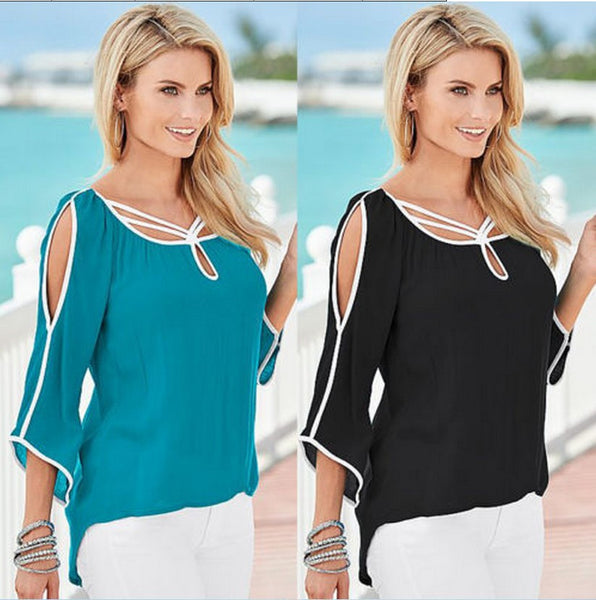 Irregular Bat-wing 3/4 Sleeves Out Shoulder Chiffon Blouse